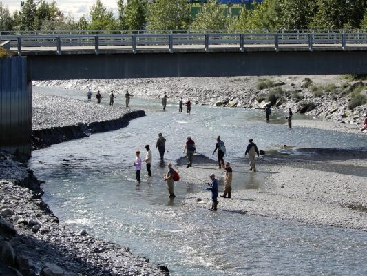 Lachsfischer am Chena River